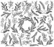 Vektor-Sammlung Weinlese-Art-des Hand gezeichneten Weihnachtsfeiertags mit Blumen Stockfoto