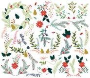Vektor-Sammlung Weinlese-Art-des Hand gezeichneten Weihnachtsfeiertags mit Blumen Lizenzfreies Stockbild