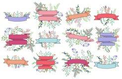 Vektor-Sammlung Weinlese-Blumenfahnen Stockbilder