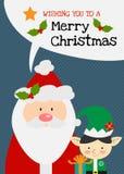 Vektor Santa Claus der frohen Weihnachten mit Elfencharakter-Grußkarte Stockfotos