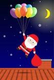 Vektor Santa Claus, die bunten Ballon über Dach hält Lizenzfreie Stockfotos