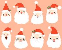 Vektor Santa Claus Heads oder Gesichter stock abbildung