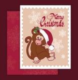 Vektor Santa Monkey Christmas Greeting Card Arkivfoton