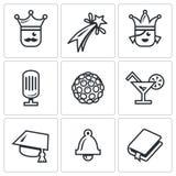 Vektor-Satz Abschlussball-Ikonen König, Feuerwerk, Königin, Ausrüstung, Disco, Alkohol, Meister, letzter Anruf, Szenario Lizenzfreies Stockfoto