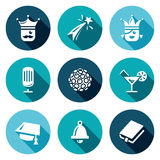 Vektor-Satz Abschlussball-Ikonen König, Feuerwerk, Königin, Ausrüstung, Disco, Alkohol, Meister, letzter Anruf, Szenario Stockbild