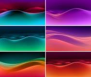 Vektor-Satz abstrakte bunte mehrfarbige Wellen-Hintergründe Stockfotos
