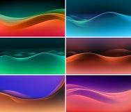 Vektor-Satz abstrakte bunte mehrfarbige Wellen-Hintergründe Lizenzfreie Stockfotografie