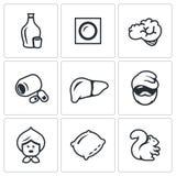 Vektor-Satz Alkoholsucht-Ikonen Schnaps, Flecken, Gehirn, Pillen, Leber, Alkoholiker, alte Frau, Kissen, Eichhörnchen vektor abbildung