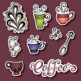 Vektor-Satz Aufkleber mit dekorativen Kaffeetassen Stockfotos
