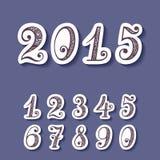 Vektor-Satz Aufkleber mit dekorativen Zahlen Stockfotografie