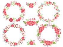 Vektor-Satz Blumenkränze und Blumensträuße vektor abbildung