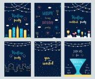 Vektor-Satz Dachspitzen-, Cocktail-und Geburtstagsfeier-Einladungs-Karten mit hellen Girlanden Stockfoto