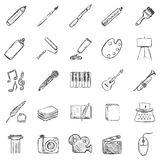Vektor-Satz der Skizze Art Icons Lizenzfreie Stockfotos