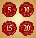 Vektor-Satz des Jahrestags-roten Wachssiegels 5., 10., 15., 20. Stockfotografie