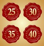 Vektor-Satz des Jahrestags-roten Wachssiegels 25., 30., 35., 40. Stockfotos