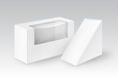 Vektor-Satz des weißen leeren Papprechteck-Dreiecks nehmen die Kästen weg, die für Sandwich, Lebensmittel verpacken lizenzfreie abbildung