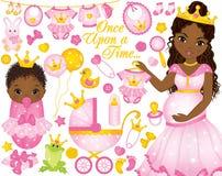 Vektor-Satz für Baby-Dusche mit schwangerer dem Afroamerikaner-Frau und Baby gekleidet als Prinzessinnen Lizenzfreie Stockbilder