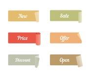 Vektor-Satz farbige klebende Klebebände mit Text Stockfotos