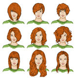 Vektor-Satz Farbskizzen-Frau-Gesichter stock abbildung