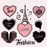 Vektor-Satz Herzhandabgehobener betrag und der Eiffelturm auf nahtlosem Muster der rosa Fischnetzstrumpfhosen Vektor Abbildung
