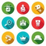 Vektor-Satz Irrenhaus-Ikonen Diagnose, Zwangsjacke, Behandlung, Studie, Gebäude, Doktor, Knechtschaft, Ausdauer, Spalte stock abbildung