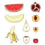Vektor-Satz Karikatur-Früchte Melone, Wassermelone, Birne, Banane, Apple, Pflaume, Granatapfel, Aprikose, Pfirsich stock abbildung
