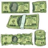 Vektor-Satz Karikatur-Geld: Banknoten, Banknotenrolle und Bündel stock abbildung