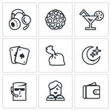 Vektor-Satz Nachtclub-Ikonen Musik, Beleuchtung, Getränk, Spiel, Drogen, Nacht, Schutz, Tänzer, Finanzierung Lizenzfreie Stockfotografie