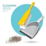 Vektor-Satz Reinigungsservice-Elemente reinigungsmittel Neue Schwämme Hausarbeitwerkzeuge, Hausreinigung Abfall, Müllschippe und  stock abbildung