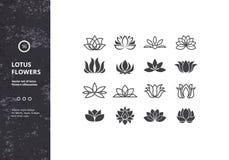 Vektor-Satz Schablonen-Wasser Lily Shapes Lizenzfreie Stockfotografie