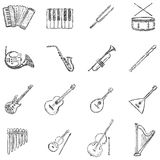Vektor-Satz Skizzen-Musikinstrument-Ikonen Stockfoto