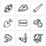 Vektor-Satz Sklaverei-Ikonen Schlagen, Folterung, Drohung, Sklaverei, Furcht, Gefangenschaft, Fesseln, Zigarre, Bau lizenzfreie abbildung