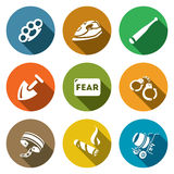 Vektor-Satz Sklaverei-Ikonen Schlagen, Folterung, Drohung, Sklaverei, Furcht, Gefangenschaft, Fesseln, Zigarre, Bau vektor abbildung
