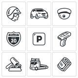 Vektor-Satz Straßen-Patrouillen-Polizei-Ikonen Spindel, Auto, CCTV, Zeichen, Parken, Verletzung, Geldstrafe, Evakuierung, Zahlung Lizenzfreie Stockbilder