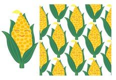 Vektor-Satz von Maiskolben und von nahtlosem Muster Vektor Abbildung