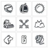Vektor-Satz von Ski Resort Icons Lizenzfreie Stockbilder