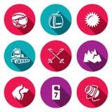 Vektor-Satz von Ski Resort Icons Stockbild