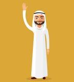 Vektor - saudische Mannzeichentrickfilm-figur, die oben Hand anhebt Emiratmannstand, der ihre Hand wellenartig bewegt Lizenzfreies Stockfoto