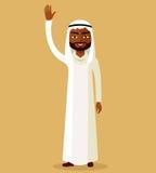 Vektor - saudische Mannzeichentrickfilm-figur, die oben Hand anhebt Emiratmannstand, der ihre Hand wellenartig bewegt Stockfoto