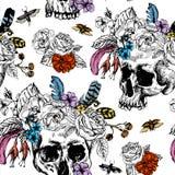 Vektor-Schädel, Blumen-Tag vom toten, das schwarz und Stockbild