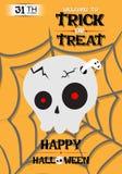 Vektor-Schädel-Plakat-Halloween-Partei lizenzfreie abbildung
