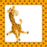 Vektor-Schablonen-Karte mit Baby-Giraffe und Polka Dot Background Lizenzfreies Stockbild