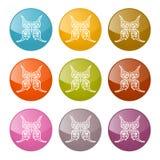 Vektor-Schmetterlings-Ikonen-bunter Satz Stockbild