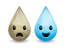 Vektor schmutzig und Trinkwassertropfen Stockbilder