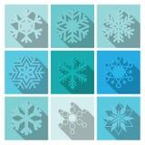 Vektor-Schneeflocken-Ikonen-Bühnenbild Stockfoto