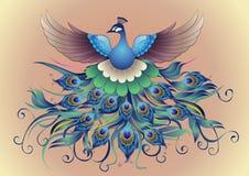 Vektor, schöner Pfau in der dekorativen Art Stockfotos