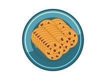 Vektor-Schokoladen-Plätzchen-Chips in der blauen Platte auf weißem Hintergrund vektor abbildung