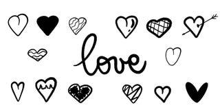 Vektor-Schwarz-Herz-Hintergrund Herzbeschaffenheit reizende Illustration Romantische Karte Handdrawn Herz für Heiratseinladung stock abbildung