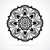 Vektor-schwarze Geometrie-Mandala über Weiß Lizenzfreie Stockbilder