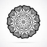 Vektor-schwarze Geometrie-Mandala über Weiß Stockfotografie